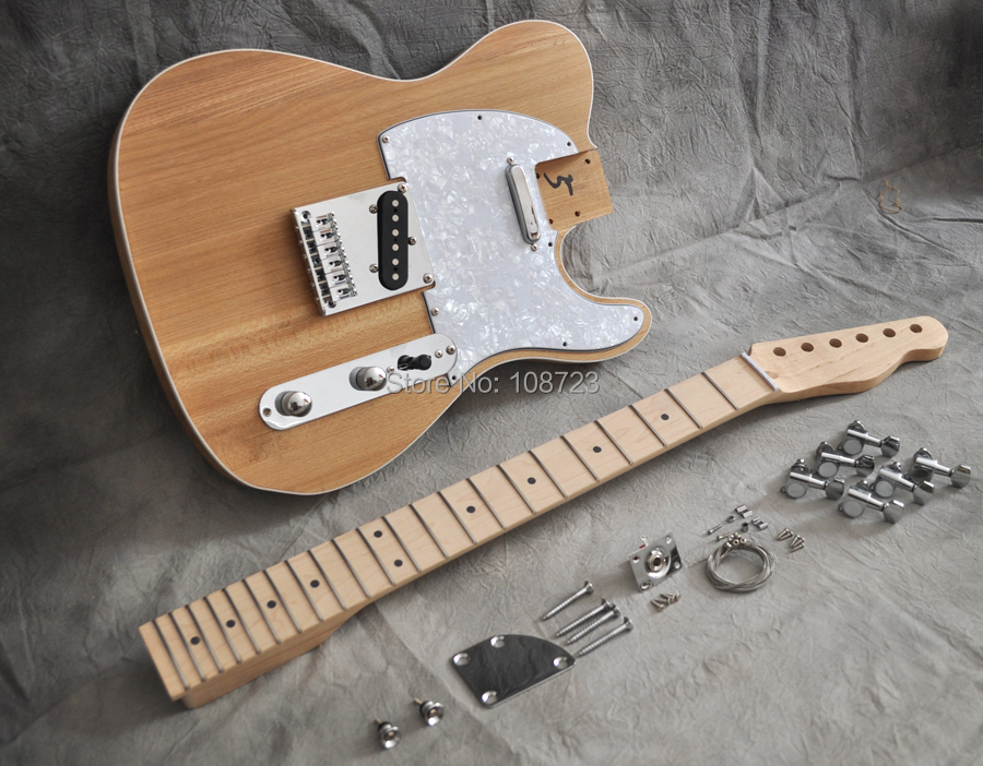DIY Electric Guitar Kit Vintage Style With Alder Body And Maple Neck Fingerboard Luthier Builder Kits yibuy maple 2 single coil pickup 21 22f electric guitars diy builder kit with all accessories