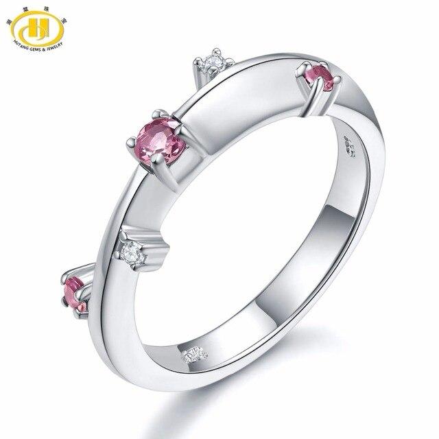 13168f33e3891e Hutang Wedding Rings Gemstone Pink Tourmaline Topaz Gemstone Solid 925 Sterling  Silver Ring Fine Stone Jewelry For Women Girls'