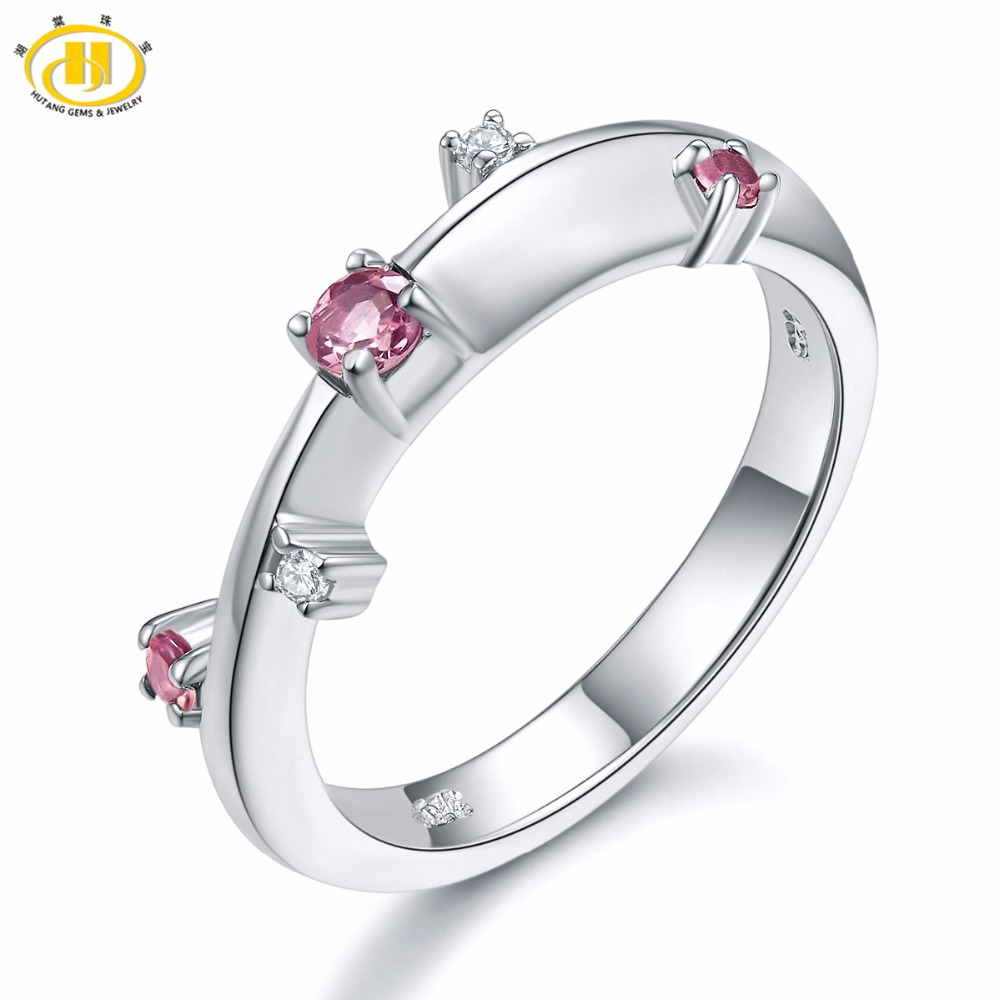 Hutang Women's Ring Natural Gemstone Pink Tourmaline Topaz Solid 925 Sterling Silver Ring Fine Colorful Engagement Jewelry Gift