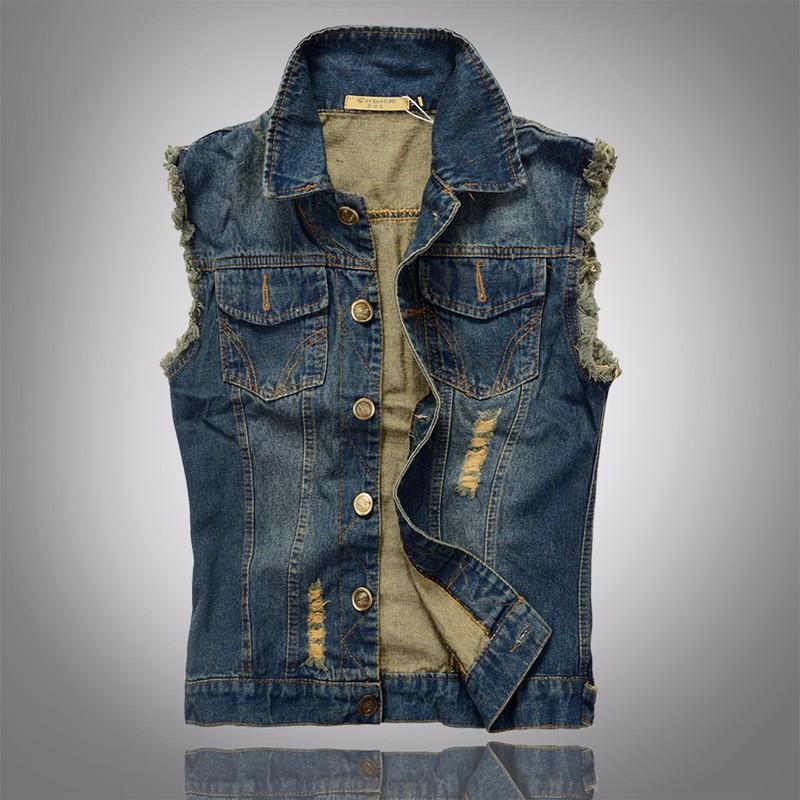Hot Men Denim Vest Hole Sleeveless Jean Jacket Ripped Fashion Male Plus Size Waistcoat 2016