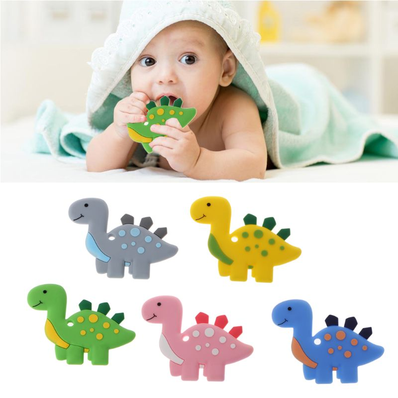 Dinosaur  Teethers Pendant Necklace Accessory BPA Free Silicone Chew Toys