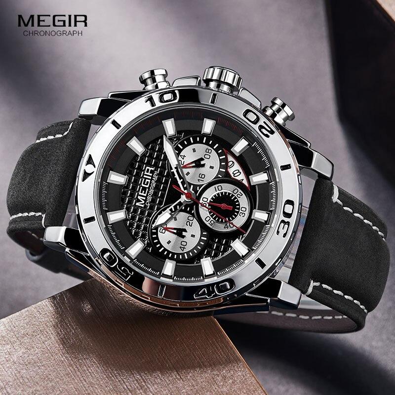 MEGIR männer Armee Sport Chronograph Quarz Uhren Leder Armband Leucht Wasserdichte Armbanduhr Mann Relogios Uhr 2094 Silber