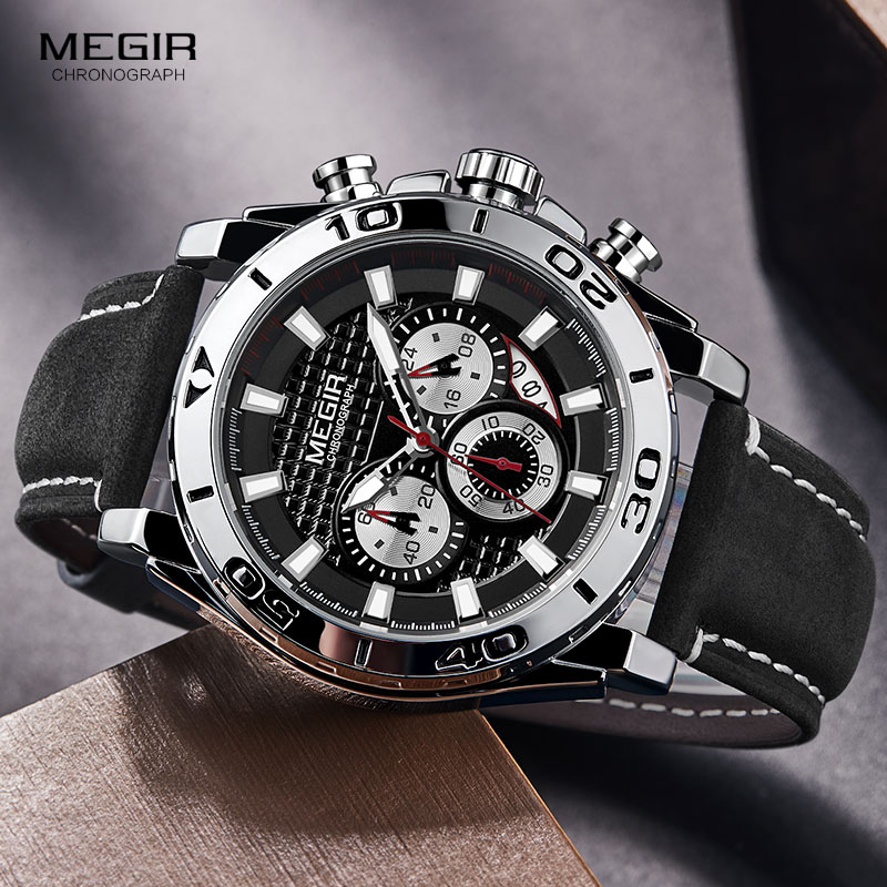 MEGIR Mens Army Sports Chronograph Quartz Watches Leather Strap Luminous Waterproof Wristwatch Man Relogios Clock 2094 SilverQuartz Watches   -
