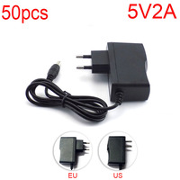 50PCS DC 5V 2A 2000mA AC to DC Power Adapter supply 5.5mm x 2.1mm 100V 240V Converter adapter for LED Strip Lamp Switch
