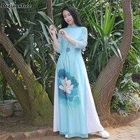 2019 new japanese ao dai three quarter kimonos women ao dai long sleeve vietnam aodai cheongsam dress