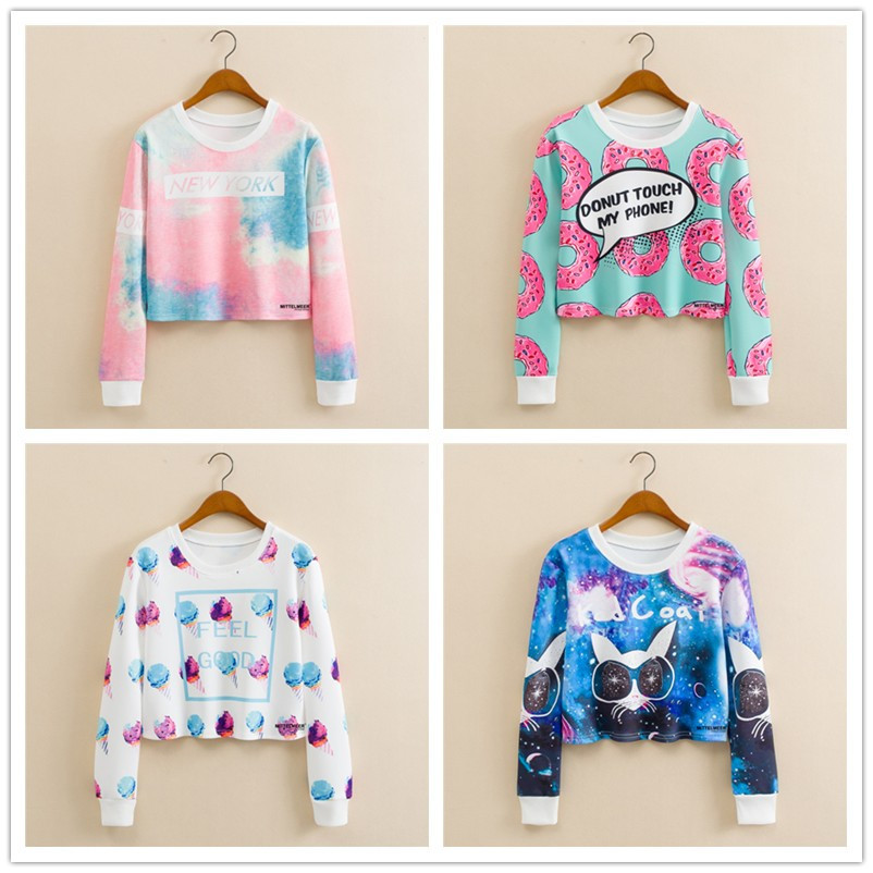 f0a85a22d4cf Aliexpress.com : Buy Harajuku Kawaii Clothes Crop Sweatshirt Cropped Hoody  Women Pullover Truien Dames Unicorn Licorne Cat Ice Cream Hoodie nwy460  from ...