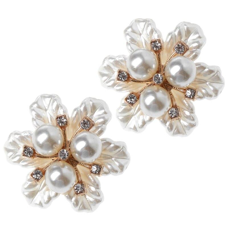 2pcs Shoe Decoration Floral Flower Pearl Ornaments Clothes Charms Shoes Supplies 2018 New Hot