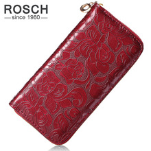 Ms change floral lady clutch zipper wallets red pu purse wallet