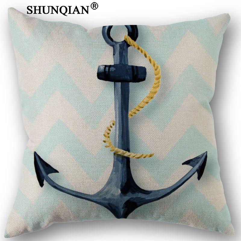 New Custom Anchor Canvas Pillowcase Wedding Decorative PillowCase 45x45cm One Sides Cotton Linen Pillow Cover