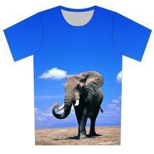 Joyonly 2018 Summer Children Blue Sky T shirts Animal Elephant Printed  Harajuku T-shirts Boys Girls Kids Fashion Cool Tees Tops 0a09b981113c
