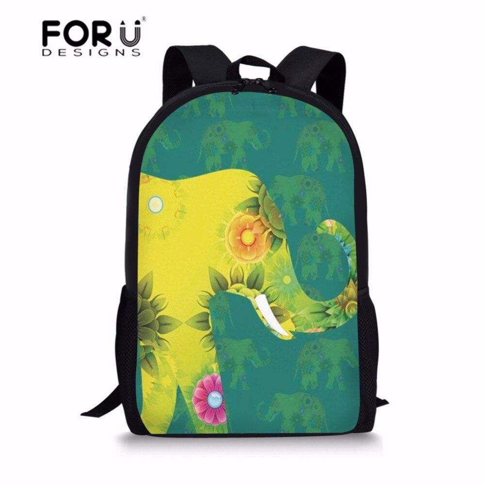 FORUDESIGNS School Backpack Kids Cute Elephant Printed Backpack Schoolbag for Girls Teenage School Satchel Mochila Escolar 2018