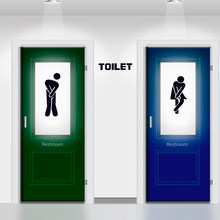 13*18 New Funny Toilet Entrance Sign Decal Vinyl Sticker For Shop Office Home Cafe Hotel Toilet Bathroom Wall Door Decoration(China)