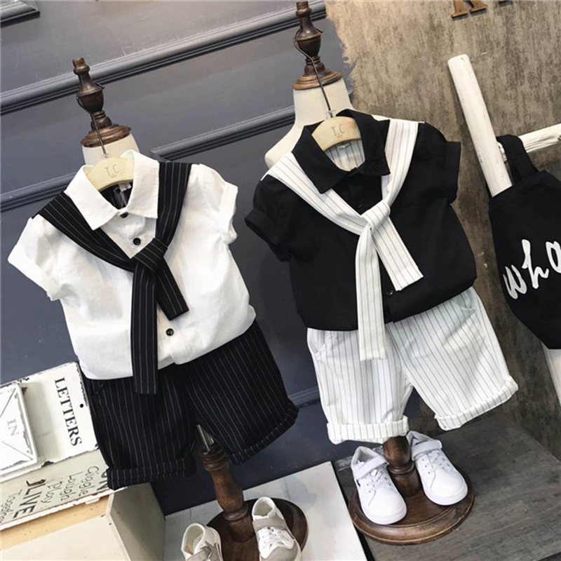 Boys clothing set white black short sleeve shirt blouese Tie + Sport striped shorts Pants Two Pieces Set Sport Suit 2pcs summer new sexy vs045 1 6 black and white striped sweather stockings shoes clothing set for 12 female bodys dolls
