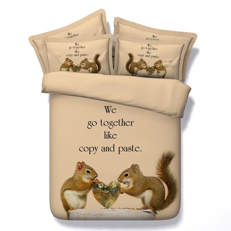 ̿̿̿(•̪ )Doux écureuil impression couette ensemble de literie