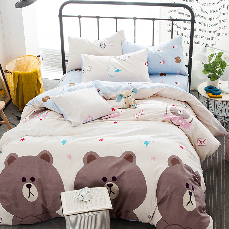 dinosaur penguin teddy bear bunny cartoon queen size 4pcs. Black Bedroom Furniture Sets. Home Design Ideas