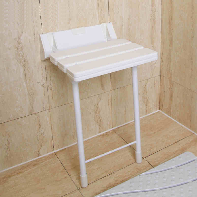 ABS+Aluminum Shower Seat Spacing Saving Wall mounted Relaxation Folding Bath Chair Waiting Wall Chair with Legs