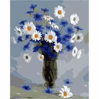 Flower Frameless Picture DIY Oil Painting By Numbers Of Daisy Modern Wall Pictures Painting Calligraphy Home