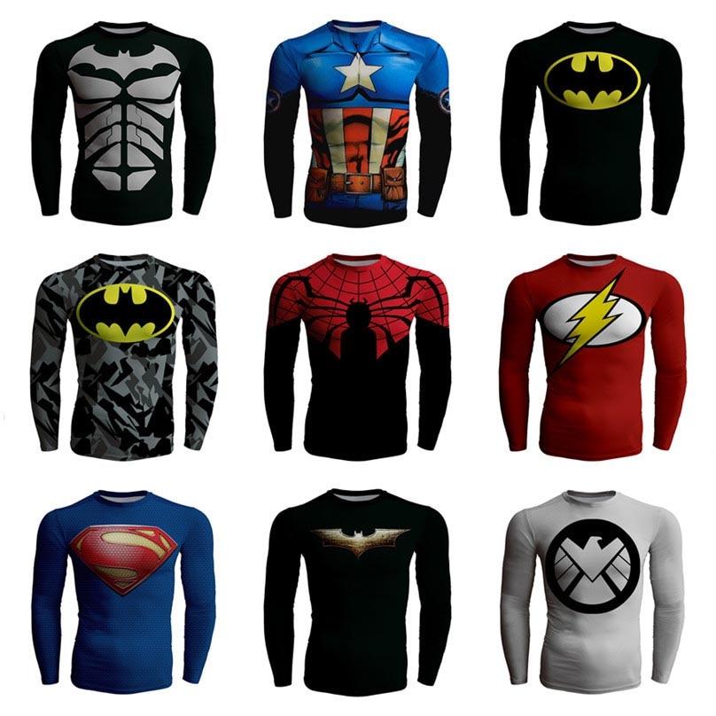 Sport fitness Heren Superheld Batman spider-man Compressie dwangbuis Sneldrogende beweging lange mouwen ademend T-shirt