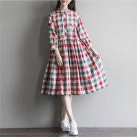2017 New Mori Girl Style Women Vintage Linen Cotton Dress Spring Summer Dress Elegant Plaid Print
