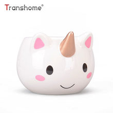 Transhome Unicorn Mug 300ml Rainbow Horse Unicorn Mugs Cup Cuteness 3D Unicorn Ceramic Coffee Mug Gold Stereo Cute Unicorn Cups(China)