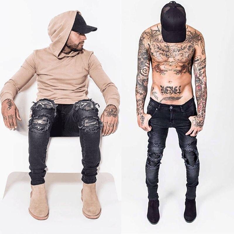 2017 hip hop Men Denim Distressed Men s Jeans Pants Brand Skinny Rock Ripped Fitness Hole