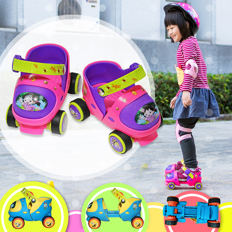 New Adjustable Children Roller Skates Double Row 4 Wheels Skating Shoes Sliding Inline Skates Kids Gifts Safe Button Resistance