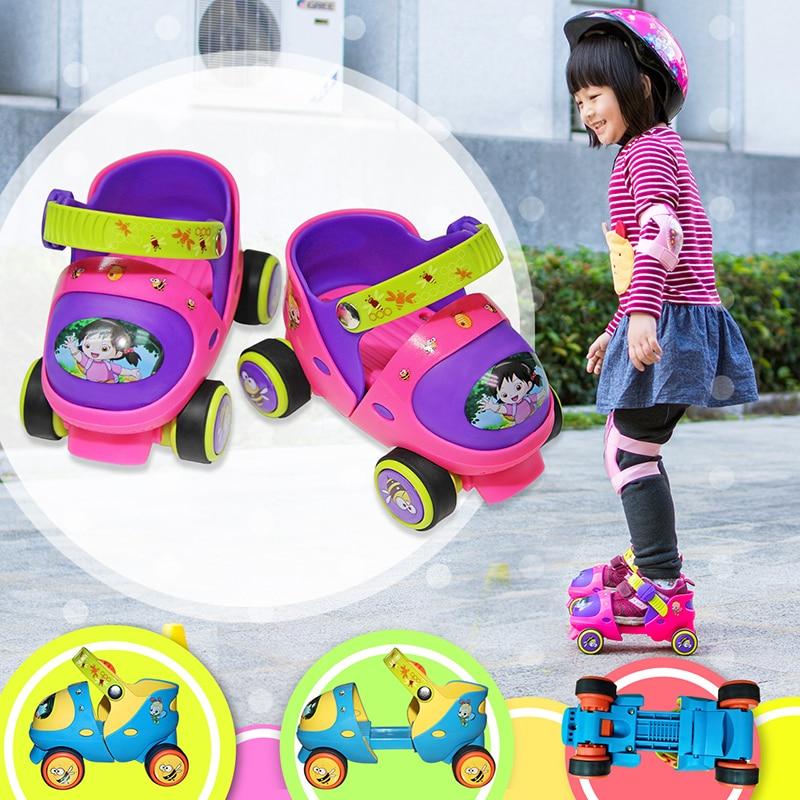 New Adjustable Children Roller Skates Double Row 4 Wheels Skating Shoes Sliding Inline Skates Kids Gifts Safe Button Resistance