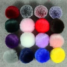 13 Colors Fashion 8CM Fluffy Rabbit Fur Ball Key Chain Cute Pompom Artificial Rabbit Fur Keychain Women Car Bag Key Ring
