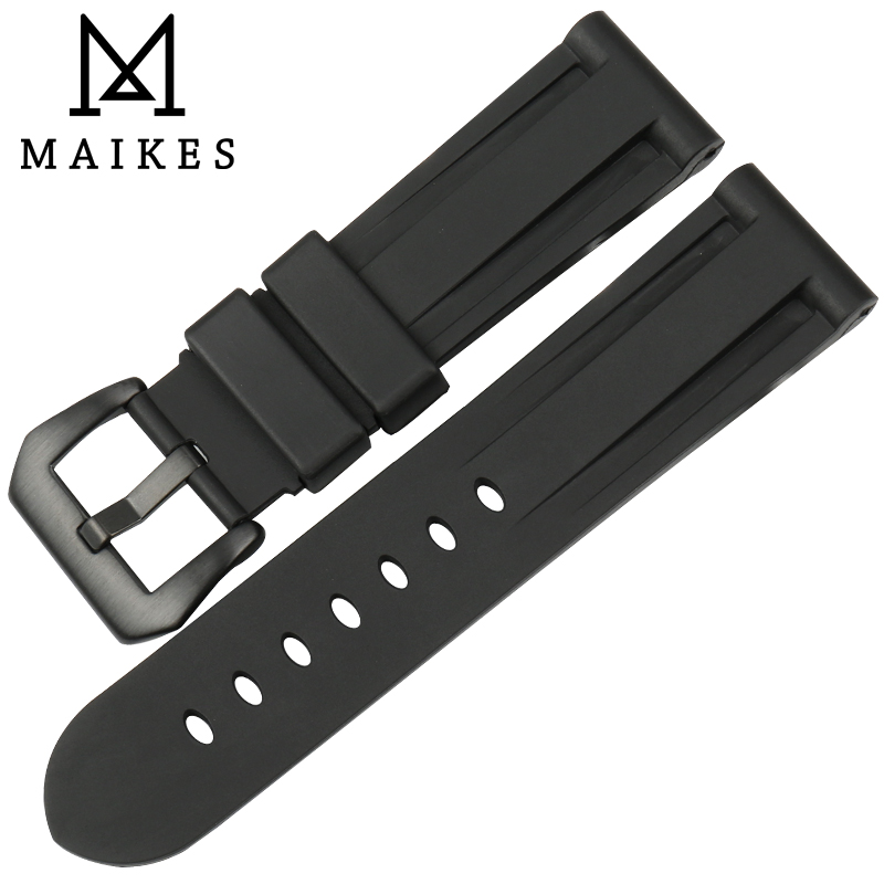 MAIKES High Quality Waterproof Silicone Rubber Silver / Black Buckle Replacement Wrist Watch Band 24mm Strap Belt For Panerai