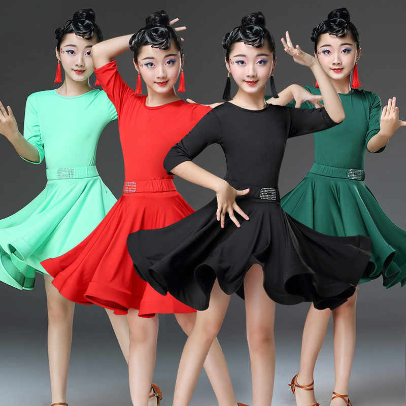 b2f26d48b Latin Dance Dress for Children Rumba Cha Cha Competition Dance Skirt Long  Sleeve / Short Sleeve