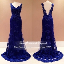 Real Photos Royal Blue Long Mermaid Prom Dresses 2017 Sweetheart Neck Straps V Back Beaded Lace Prom Dress