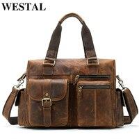 WESTAL Crazy Horse Genuine Leather Travel Bag Men Vintage Travel Duffel Bags Big Leather Carry On Luggage Weekend Bag Suitcase