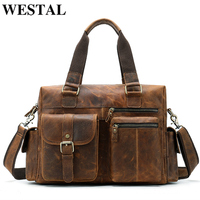 WESTAL Men's Travel Bags Genuine Leather Big/Weekend Bag Luggage Duffel Travel Bags Hand Luggage Large Capacity Totes 8537