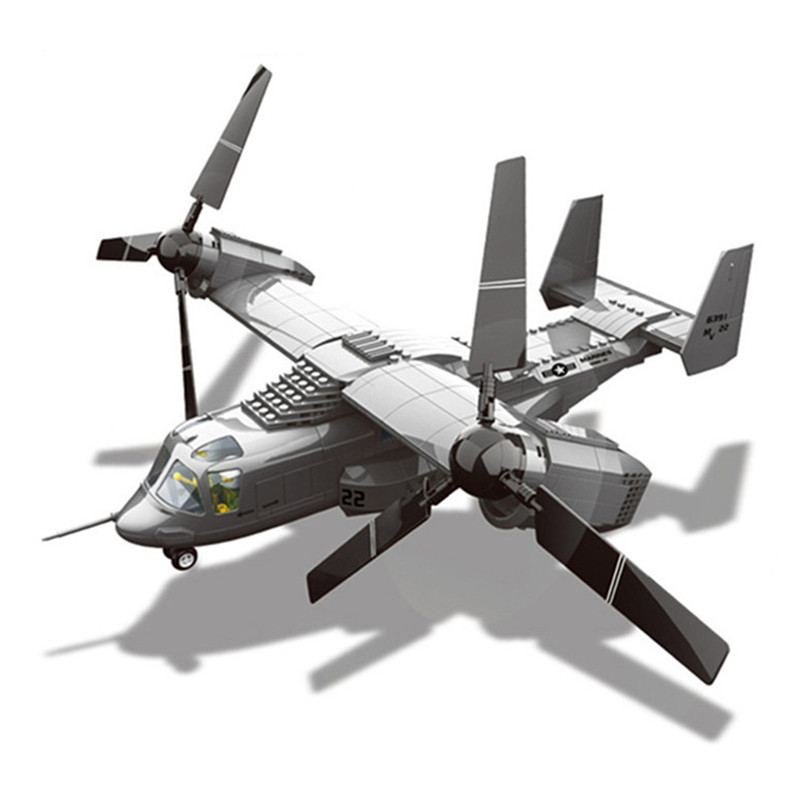 Osprey Tiltrotor Building Blocks Military Plane Helicopter DIY Assembly Model Enlighten Bricks Toys For Children Boy solar military transport plane baron p320 jigsaw puzzle building blocks environmental diy toy