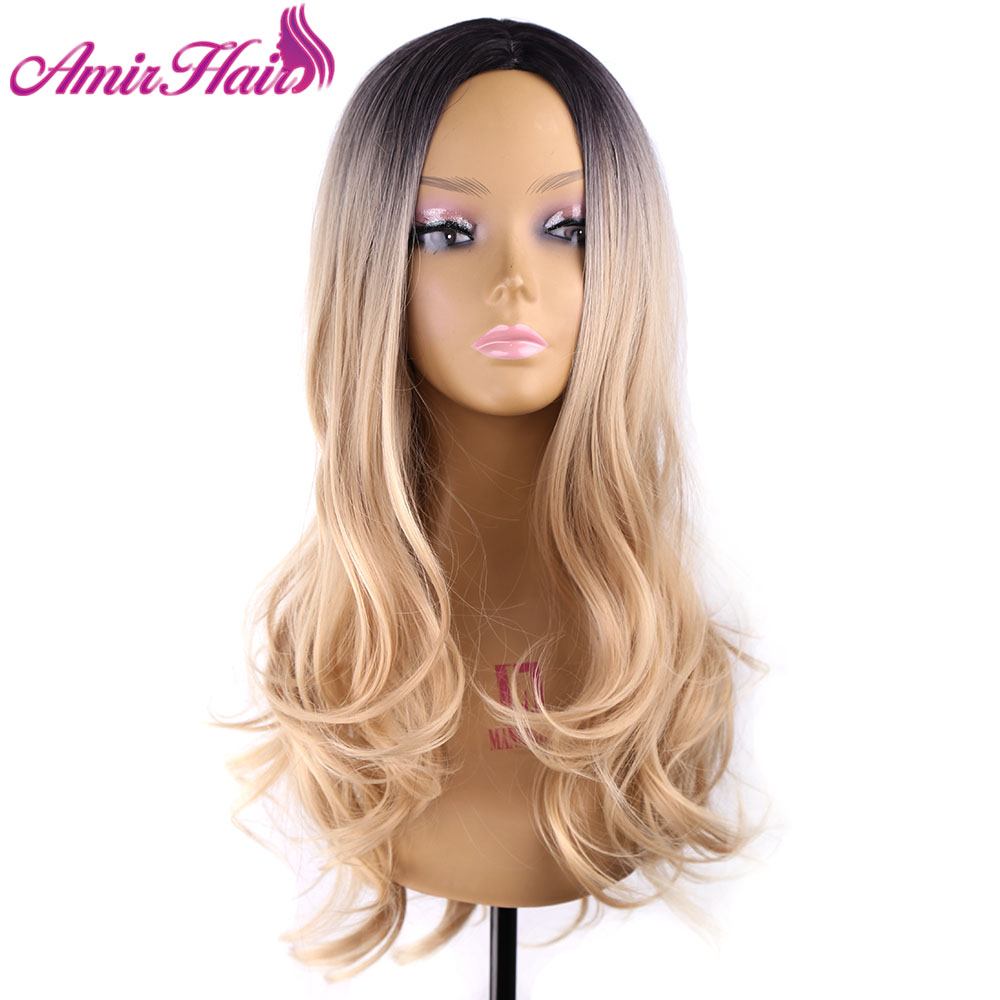 Amir Hair 60cm Heat Resistant Long Fluttys Black Blonde Omber Color Body wave synthetic Wigs For