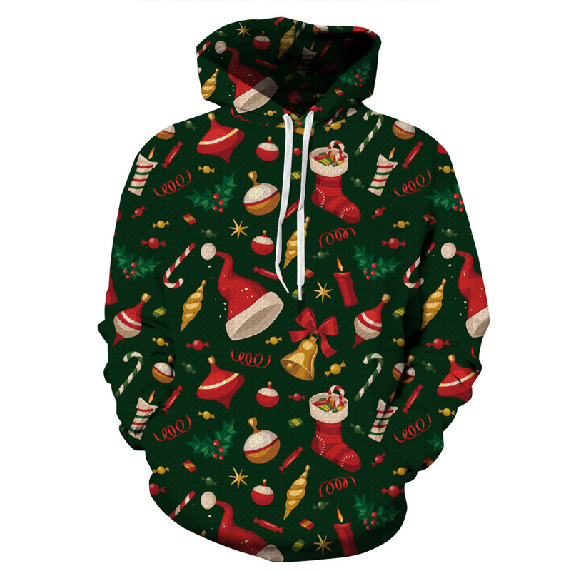 New Year Christmas Hoodies 3D Mens and Womens Sweatshirt Plus Size Winter Womens Jacket Christams Tree Tracksuit Hoody