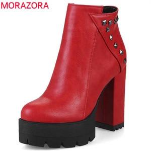 Image 1 - MORAZORA 2020 جديد أحذية أنيقة امرأة جولة تو الخريف الشتاء حذاء من الجلد للنساء مثير منصة حزب أحذية عالية الكعب الأحذية