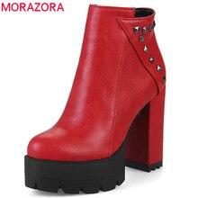 Morazora 2020 Nieuwe Mode Schoenen Vrouw Ronde Neus Herfst Winter Enkellaars Voor Vrouwen Sexy Platform Party Schoenen Hoge Hakken laarzen