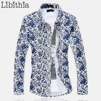 Floral Pattern Men's Cotton Dress Shirt Big Size 5XL 6XL Long Sleeve Slim Fit Chemise Homme Social Spring Blouse Male Blue E510