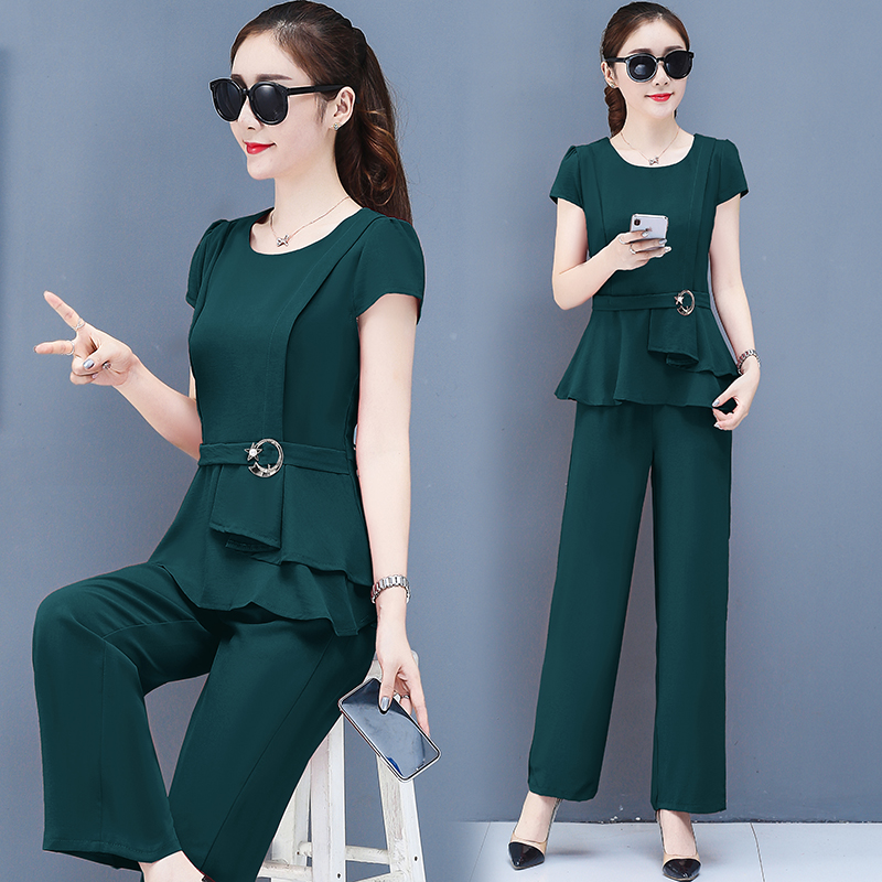 2019 Summer Chiffon 2 Two Piece Sets Outfits Women Plus Size Short Sleeve Tunics Tops And Pants Suits Office Elegant Korean Sets 45