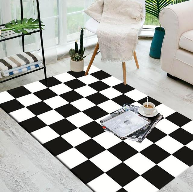 Alfombra Blanca Y Negra Geometrica Europea Grande Para Dormitorio