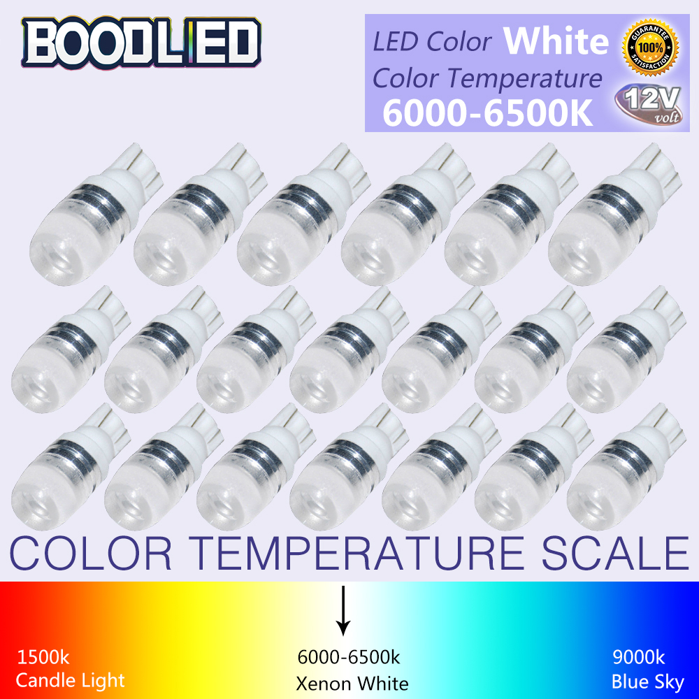 20Pcs New White Super Bright T10 LED Light 1.5W W5W 194 192 168 DC 12V Auto Car Bulb Reading Light Lamp Signal Light 20pcs bulb string light