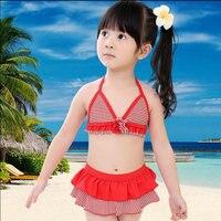Cute Little Girls Bikini Swimwear Brand New Red White Striped Dress Bathing Suits Kids Rash Guard Swimsuits Hot Sale Cheap Price