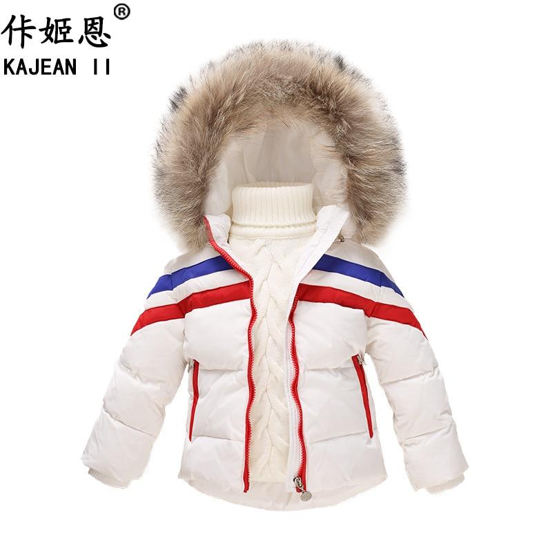 US $27.72 50% OFF|KAJEAN II Russische Kinder Weiße Ente Unten jacken Winter Abnehmbare Kapuze Jungen Mantel Pelz Kragen Mädchen Kinder Parkas Outwear