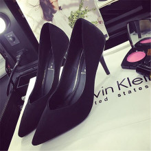 Women 's shoes 2017 spring and summer new sexy high heels solid color wedding shoes black work shoes