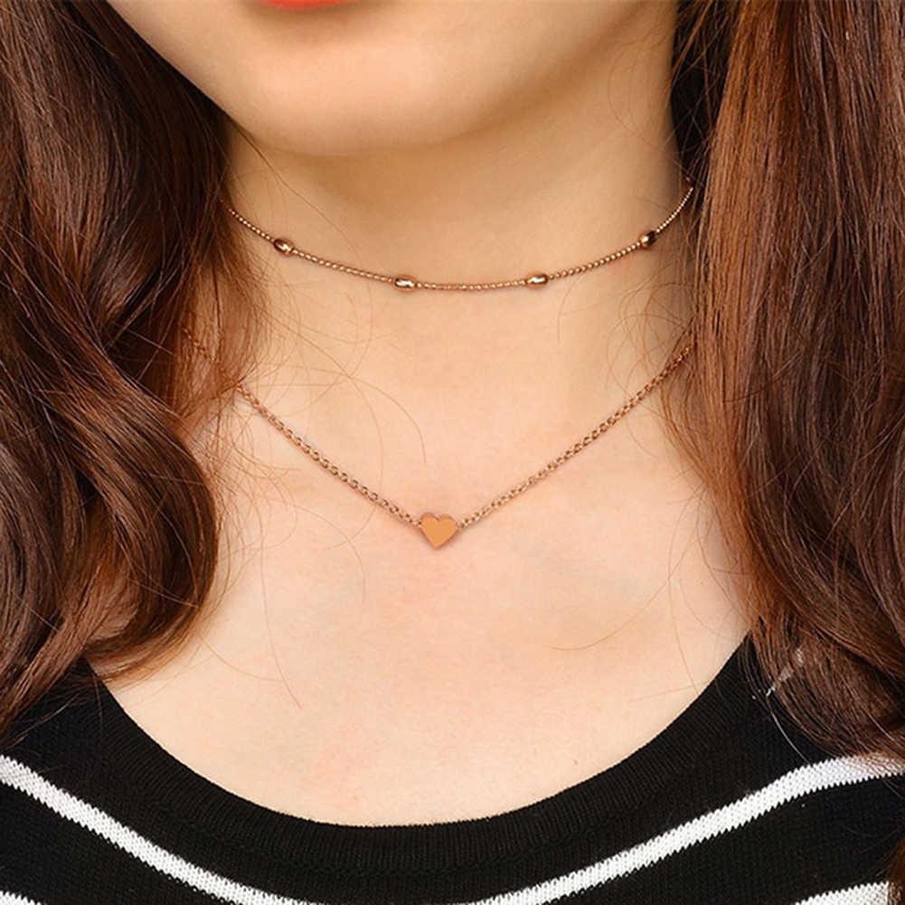Fashion Double Layers Choker Necklaces Heart Love Ball Chain Bead Charming Necklace Women Xmas Gift Stainless Steel Jewelry Gift
