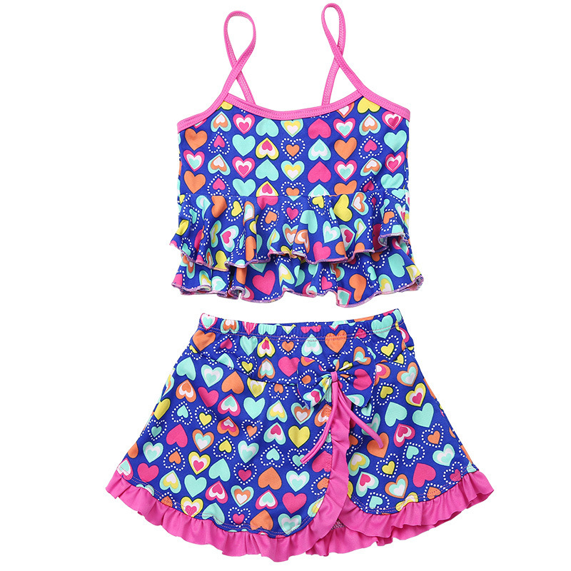 2019 Summer Girls Swimsuit Children Swimwear Kids Two Pieces Skirted Swimsuit Girls Bikini Beach Wear Swimsuit for 2-14 Years(China)