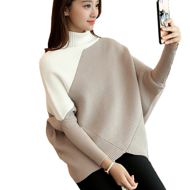 2019 Fashion Women Sweater Autumn Winter Loose Pullover Turtleneck Cashmere Sweater Pull Femme Female Christmas Knitted Sweater