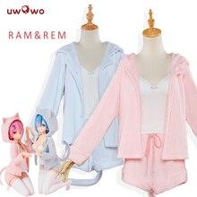 UWOWO Re:Life in a другой мир от нуля Косплей Рем Рам сексуальный кот ухо Ver костюм женский аниме Re zero Косплей Пижама