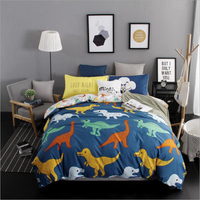 Lovely Cartoon Animal Dinosaurs Dog Zebra Pattern Duvet Cover Bed Sheet Set Polyester Fiber Fabrics Children